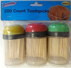 Wholesale 3 Pack Toothpicks with Plastic Holders
