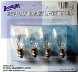 Wholesale Night LIGHT BULBS 4 Pack Clear