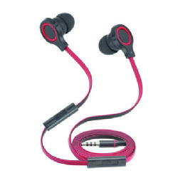 Wholesale Stereo Hands Free Earpieces with Volume Control and Flat Anti-Tangle Wire