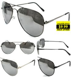 Wholesale Metal Aviator Sunglasses with Silver MIRROR Lenses
