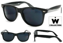 Wholesale SUNGLASSES Black Shiny W2 PLASTIC frame SUNGLASSES Wayfarer Style