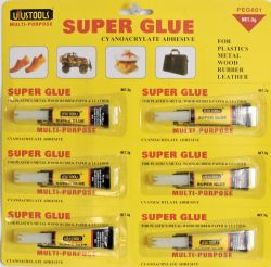 Wholesale Super Glue Adhesive 6 Pack for Plastics Metal Wood Rubber LEATHER