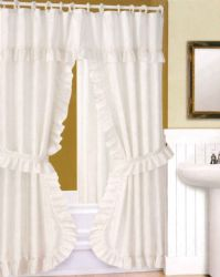 Wholesale Fabric Window CURTAIN 2 Piece Set with Tie backs