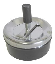 Wholesale Round Push Down Ashtray with Spinning Tray Black