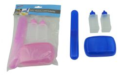 Wholesale Toothbrush Holder with Soap Dish Set and 2 Mini Travel Bottles