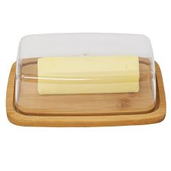 Wholesale Bamboo Butter Dish With Dome Lid Cheese Server Sliced Vegetable Tray