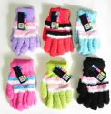 Wholesale Ladies Striped Fuzzy Gloves