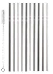 Wholesale 10 Pack Stainless Steel Straws With Cleaner Straight Reusable Drinking Straws